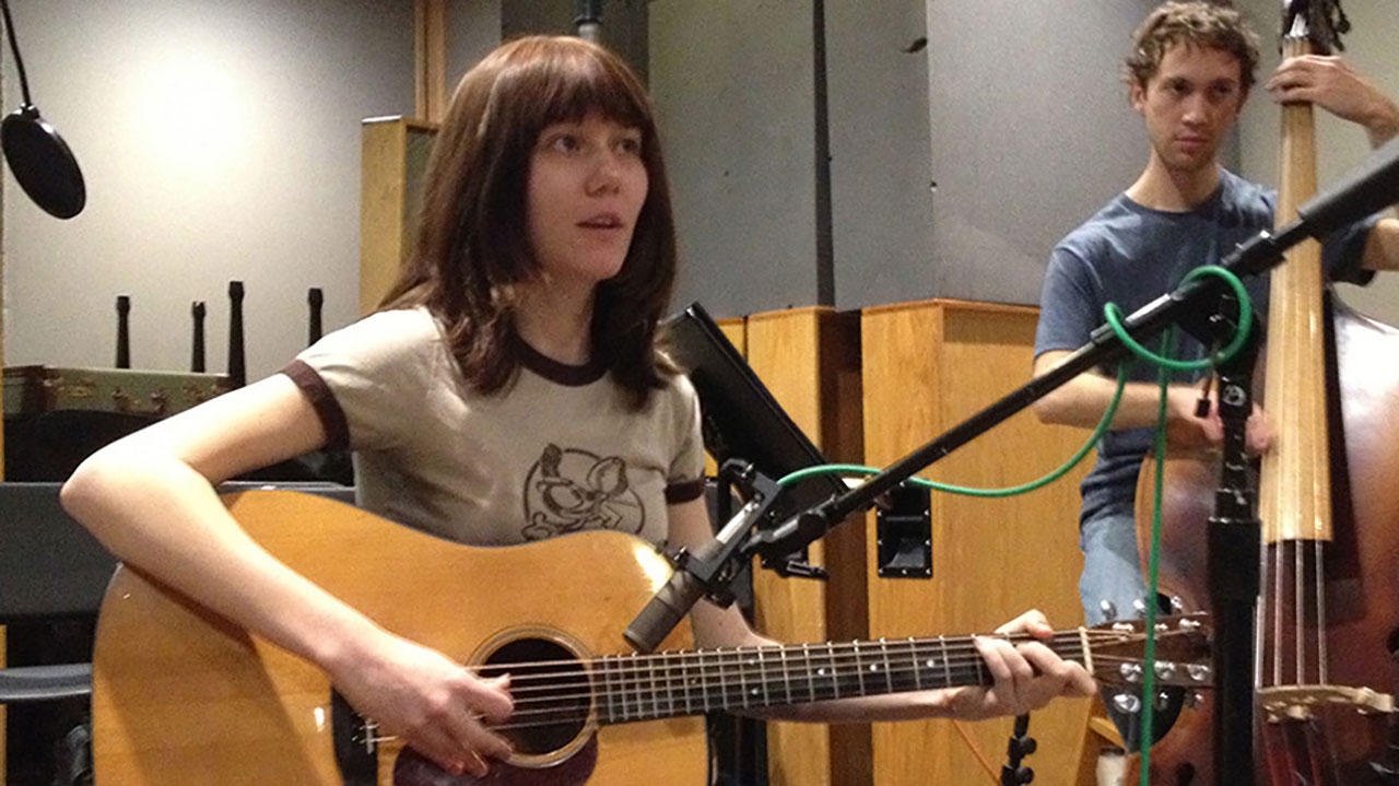 Guitarist Molly Tuttle recording with the new Sanken CU-55