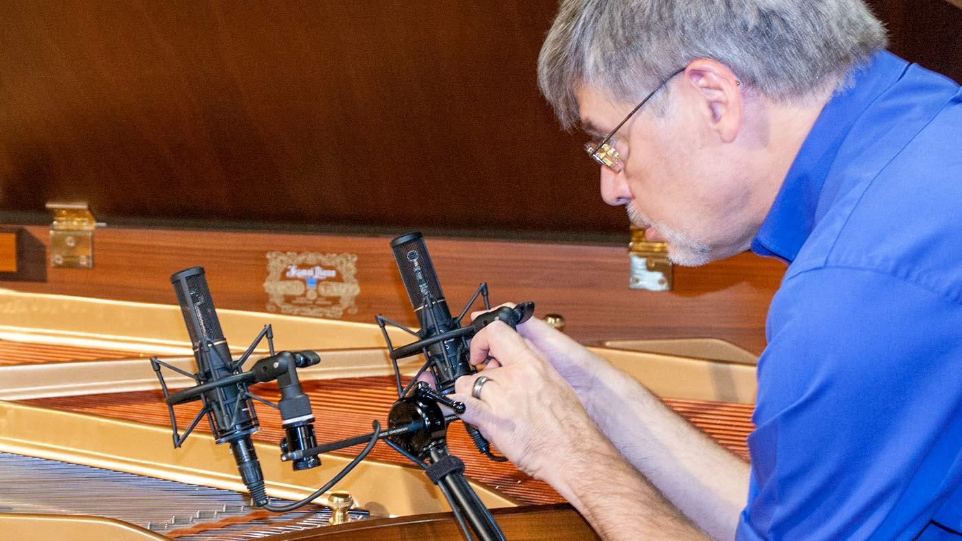 Scott Burgess recording harpsichord with Sanken CUX-100K mics